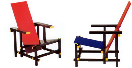 Good Arm Chair With Wooden Structure Painted In Red, Blue, Yellow, Black And  White.